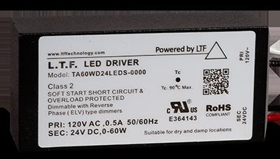 TA60WD24LEDS-0000 120V Input 60W 24V DC No Load Electronic Transformer LED Power Supply