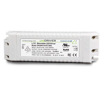 DS30W12VPT2UD-3002 30W UniDriver Universal Input 120-277V AC True Tri Mode Dimmable ELV Triac 0-10V LED Driver Power Supply