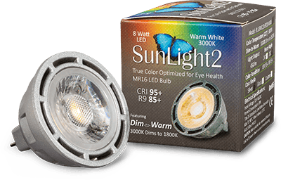 LTF SunLight2 Architectural Grade Dim to Warm High CRI R9 MR16 LED Bulb and Package
