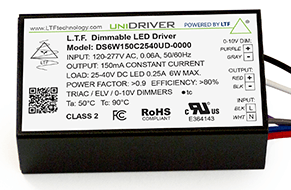 DS6WUD 6W UniDriver Universal Input 120-277V AC True Tri Mode Dimmable ELV Triac 0-10V LED Driver