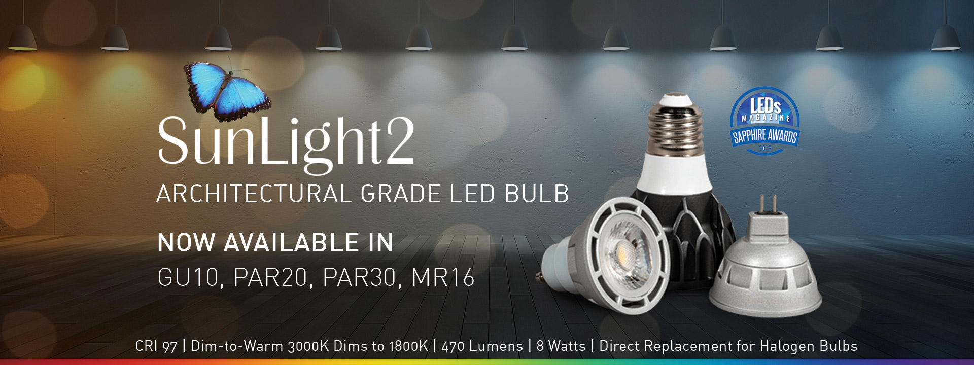 LTF SunLight2 Series High CRI 97 R9 96 Dim to Warm LED GU10 MR16 PAR20 PAR30 Bulb