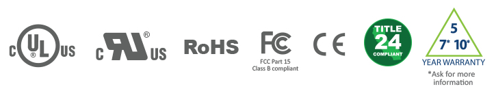 UL UR ROHS FCC CE Title 24 Compliant Certification logos