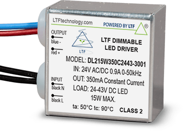 DL215W350C2443-3001 15W 24V input 350mA Dimmable LED Drivers A10 case Spec Sheet Constant Current Constant Voltage Series