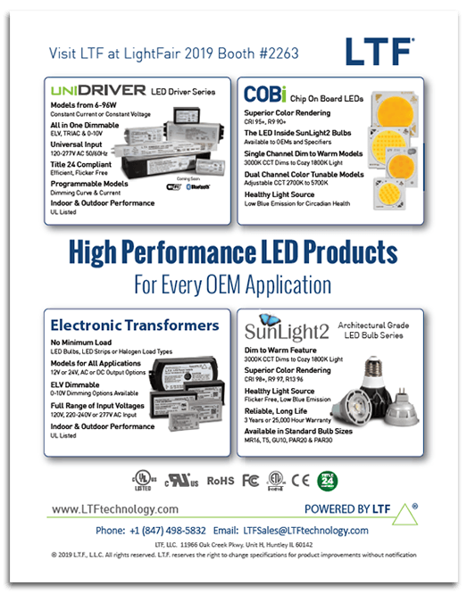 LTF print ad in LD and A Magazine LightFair International Issue UniDriver SunLight2 COB Electronic Transformers