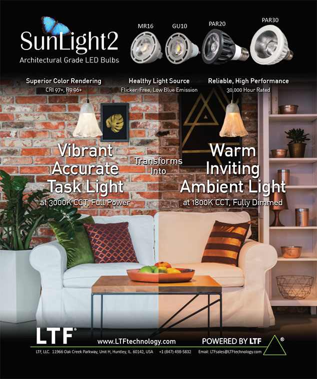 LTF SunLight2 Architectural Grade Dim to Warm High CRI LED Bulbs Print Ad Lighting and Decor Magazine