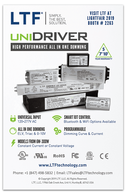 LTFs LD and A Magazine Half Page Print Ad for LightFair International Issue UniDriver Universal Input Universal Dimming LED Driver