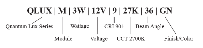 QLUXM 12V Landscape Lighting Module Part Number Key