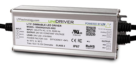 DS60W-UD-3002 60W UniDriver Universal Input 120-277V AC True Tri Mode Dimmable ELV Triac 0-10V LED Driver Power Supply