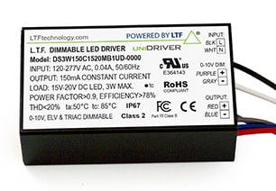 DS3WUD 3W UniDriver Universal Input 120-277V AC True Tri Mode Dimmable ELV Triac 0-10V LED Driver